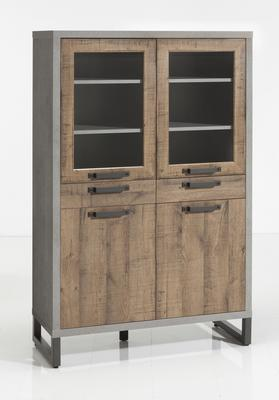 Manhattan Display Vitrine - Grey and New Aged Oak Finish