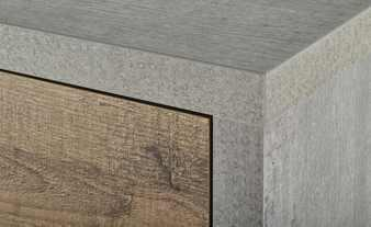Manhattan Two Door Highboard  - Grey and New Aged Oak Finish image 4