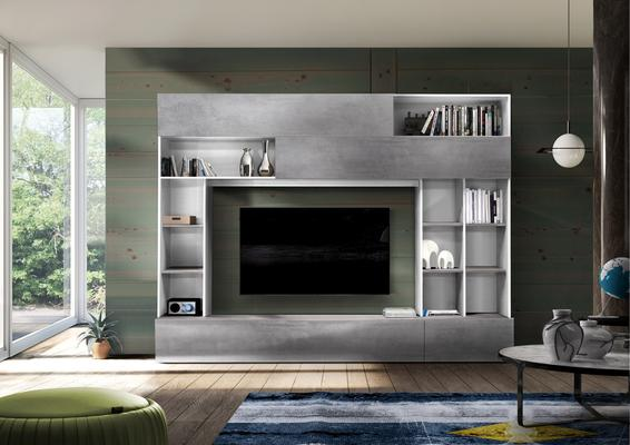 Novara TV and Wall Storage System White and Grey Finish