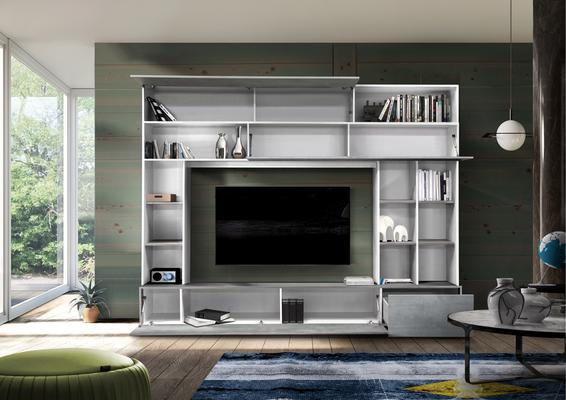 Novara TV and Wall Storage System White and Grey Finish image 2