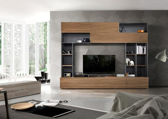 Novara TV and Wall Storage System  Anthracite Grey and Walnut  Finish
