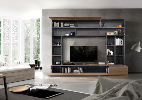 Novara TV and Wall Storage System  Anthracite Grey and Walnut  Finish image 2
