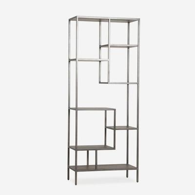 Titus Metal Display Unit Dark Oak Shelves image 2
