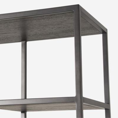 Titus Metal Display Unit Dark Oak Shelves image 4