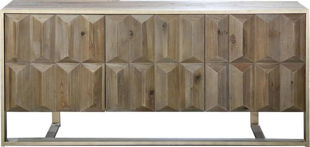 Amadeo Cubist Natural Wood Sideboard 3 Doors