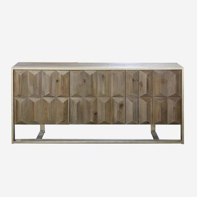 Amadeo Cubist Natural Wood Sideboard 3 Doors image 2