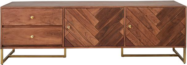 Roosevelt Parquet Low Wood Sideboard with Brass Handles