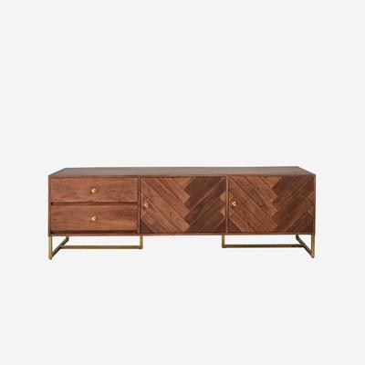 Roosevelt Parquet Low Wood Sideboard with Brass Handles image 2
