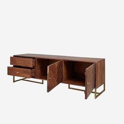 Roosevelt Parquet Low Wood Sideboard with Brass Handles image 3