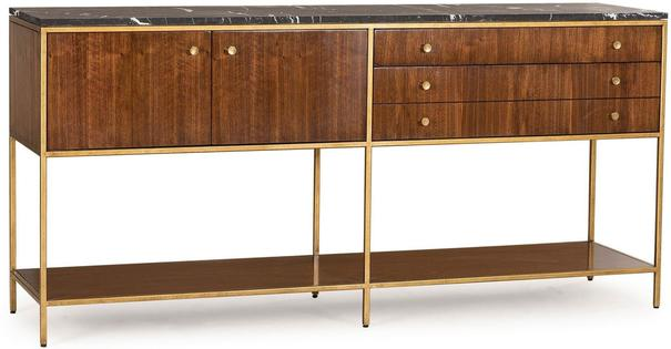 Rufus Dark Walnut Sideboard Marble Top with Brass Frame