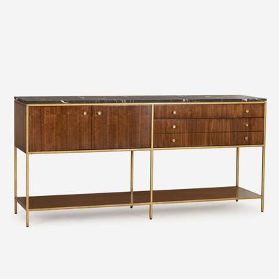Rufus Dark Walnut Sideboard Marble Top with Brass Frame image 2