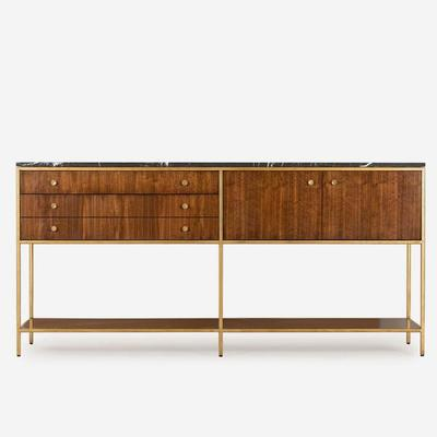 Rufus Dark Walnut Sideboard Marble Top with Brass Frame image 3