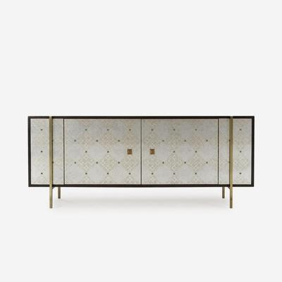 Adrian Ornate Sideboard Brass Steel Frame and Cherry Wood image 3