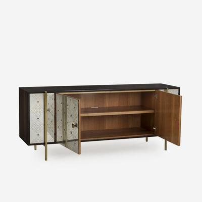 Adrian Ornate Sideboard Brass Steel Frame and Cherry Wood image 4