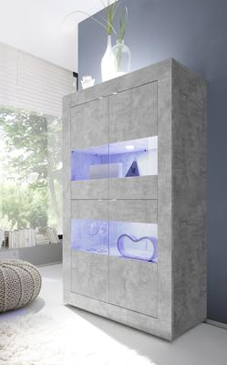 Urbino Collection Four Door Display Vitrine with optional LED Spotlights - Grey Finish