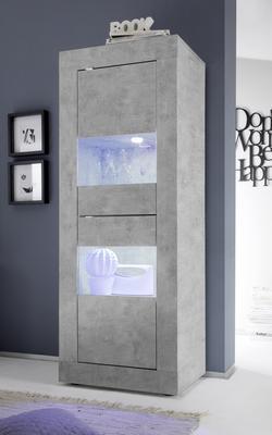 Urbino Collection Two Door Display Vitrine with optional  LED Spotlights - Grey Finish