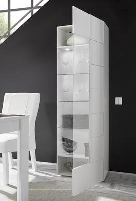 Treviso One Door Display Vitrine with LED Spotlight - White Lacquer Finish image 4