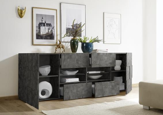 Treviso Long Sideboard - Two Doors/Four Drawers Anthracite Finish image 2