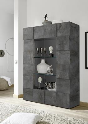 Treviso Two Door Display Cabinet - Anthracite with LED Spot Light
