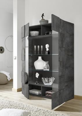 Treviso Two Door Display Cabinet - Anthracite with LED Spot Light image 2