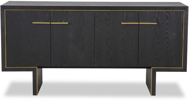 Tigur Four Door Sideboard Black or Brown Ash with Brass Detail image 3