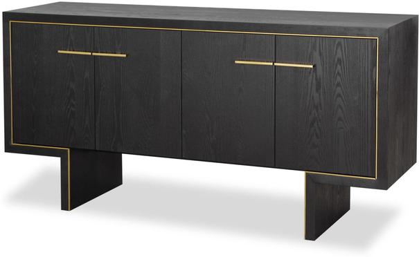 Tigur Four Door Sideboard Black or Brown Ash with Brass Detail image 4