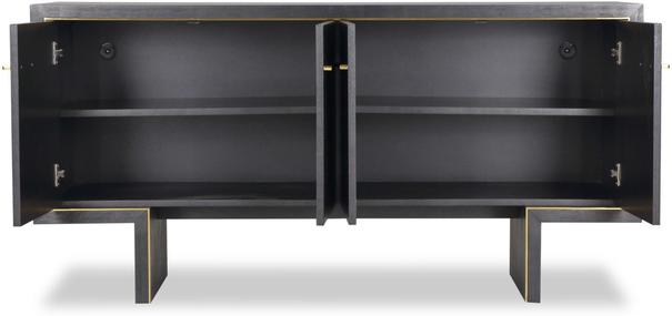 Tigur Four Door Sideboard Black or Brown Ash with Brass Detail image 5