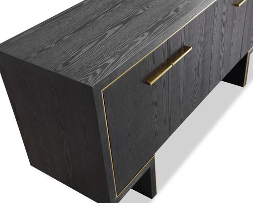 Tigur Four Door Sideboard Black or Brown Ash with Brass Detail image 6
