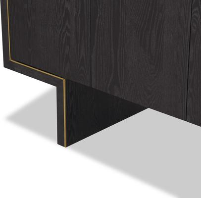 Tigur Four Door Sideboard Black or Brown Ash with Brass Detail image 7
