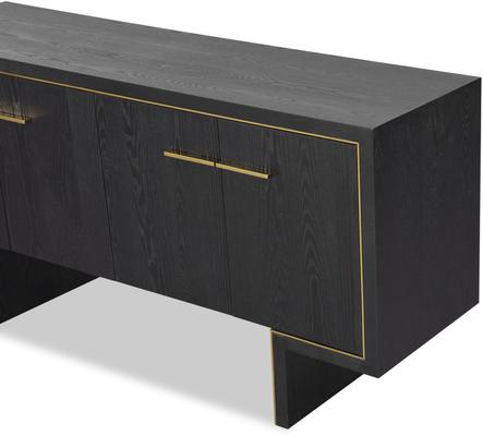 Tigur Four Door Sideboard Black or Brown Ash with Brass Detail image 8