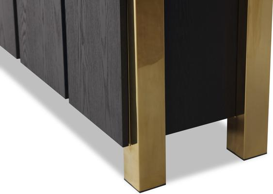 Enigma Black Ash Sideboard with Brass Detail image 9