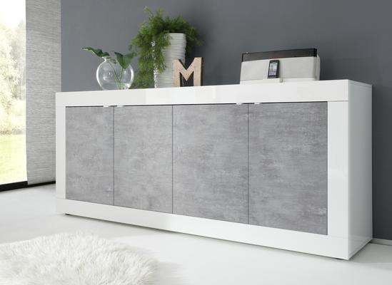 Urbino Four Door Sideboard - Gloss White  and Grey Finish