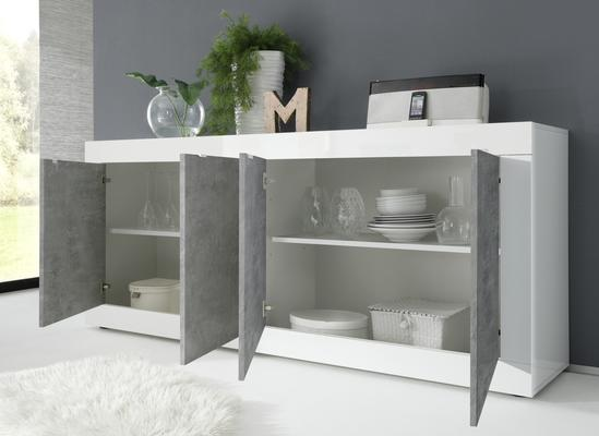 Urbino Four Door Sideboard - Gloss White  and Grey Finish image 2