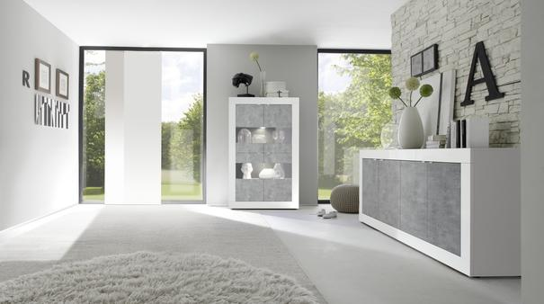 Urbino Four Door Sideboard - Gloss White  and Grey Finish image 3