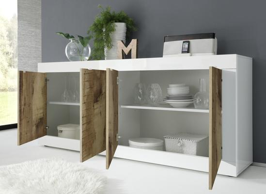 Urbino Four Door Sideboard - Gloss White and Natural Finish image 2