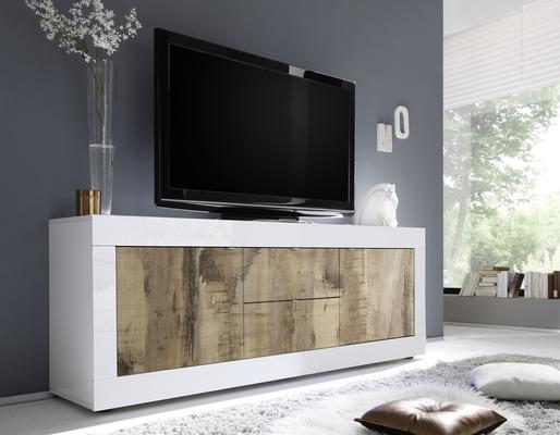 Urbino Low Sideboard/TV Stand - Gloss White and Natural Finish