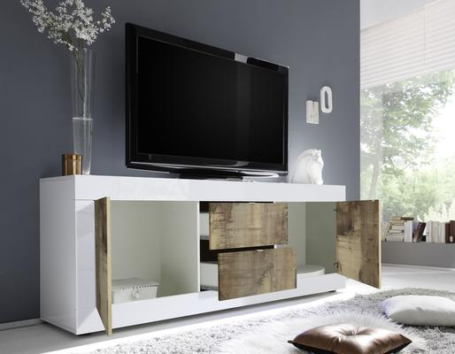 Urbino Low Sideboard/TV Stand - Gloss White and Natural Finish image 2