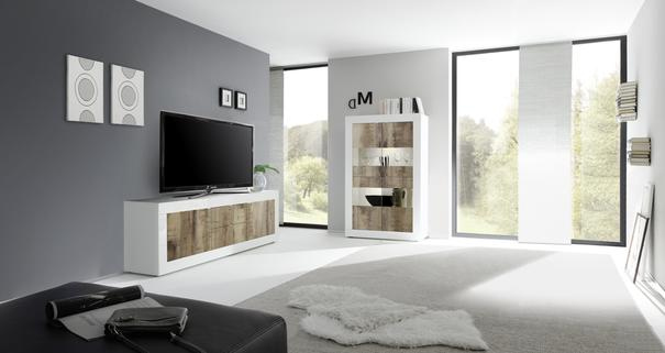 Urbino Low Sideboard/TV Stand - Gloss White and Natural Finish image 3