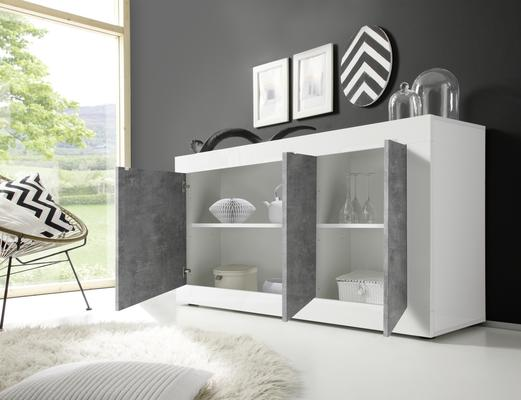 Urbino Three Door Sideboard - Gloss White and Grey Finish image 2