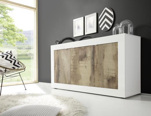 Urbino Three Door Sideboard - Gloss White And Natural Finish