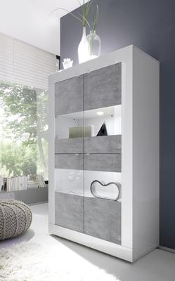 Urbino Collection Four Door Display Vitrine with optional LED Spotlights - White Gloss and Grey Finish