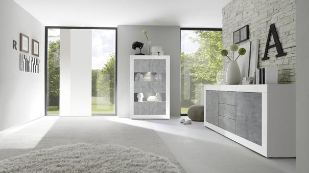 Urbino Collection Four Door Display Vitrine with optional LED Spotlights - White Gloss and Grey Finish image 3