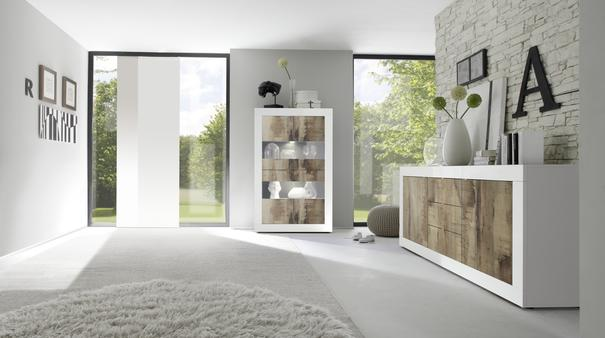 Urbino Collection Four Door Vitrine with optional LED Spotlights - White Gloss and Natural Finish image 3