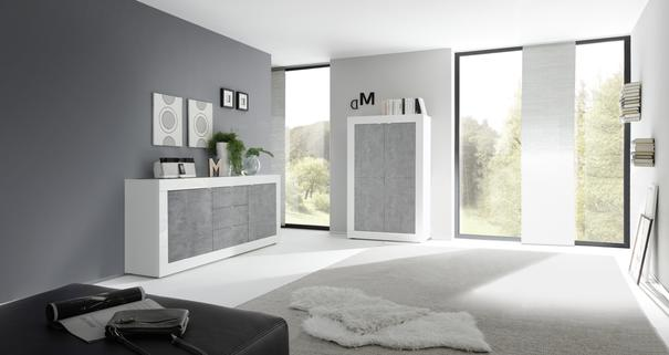 Urbino Collection Four Door High Sideboard - Gloss White and Grey Finish image 3