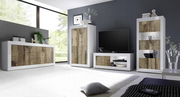 Urbino Collection Four Door High Sideboard - Gloss White and Natural Finish  image 3