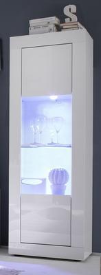 Urbino One Door Display Vitrine Including   LED Spotlight - Gloss White