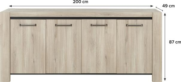 Albin Four Door Sideboard - Light Oak Finish image 4