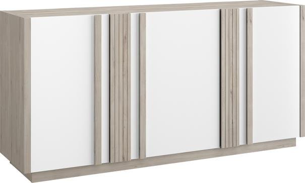 Aston Three Door Sideboard - White and Light Oak or Black image 3