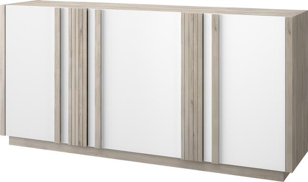 Aston Three Door Sideboard - White and Light Oak or Black image 5