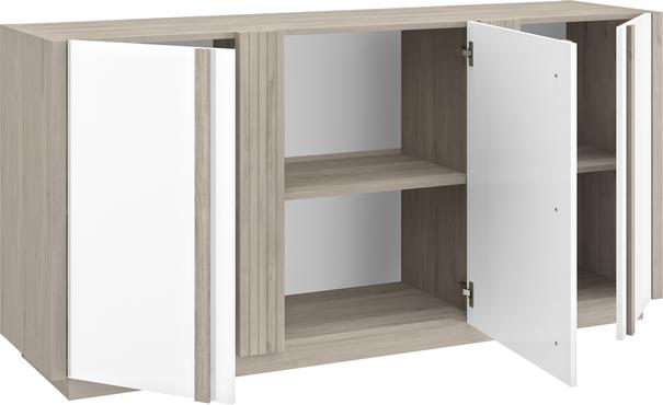 Aston Three Door Sideboard - White and Light Oak or Black image 7